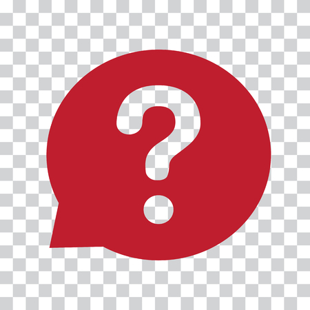 Question mark sign in red speech balloon. Help icon on a transparent background. Vector illustration