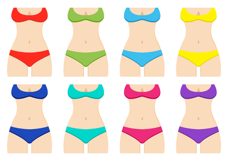 Set of female silhouettes with colorful swimsuits. Vector illustration  イラスト・ベクター素材