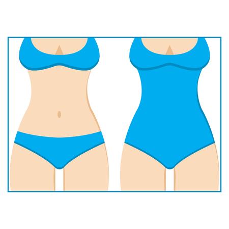Different kinds of blue swimsuits. Vector illustration Illustration