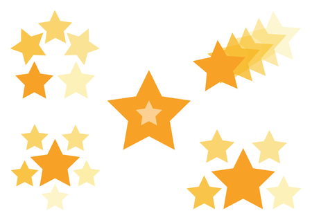 Golden set of icons with stars, vector illustration
