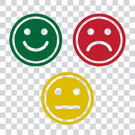Ikona emotikony emotikony zielony, czerwony i żółty na przezroczystym tle. Pozytywny, negatywny i neutralny, inny nastrój. Ilustracja wektorowa Ilustracje wektorowe