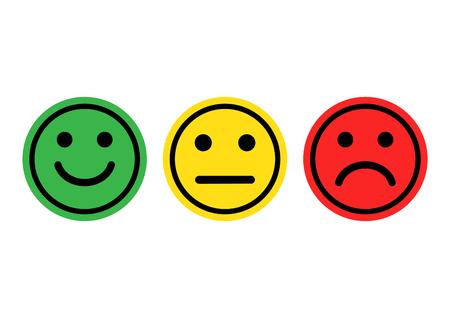 Grüne, gelbe, rote Smileys Emoticons Symbol positiv, neutral und negativ, unterschiedliche Stimmung. Vektor-Illustration