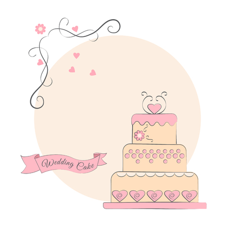 Wedding cake with ribbon on a pink background, vector illustration