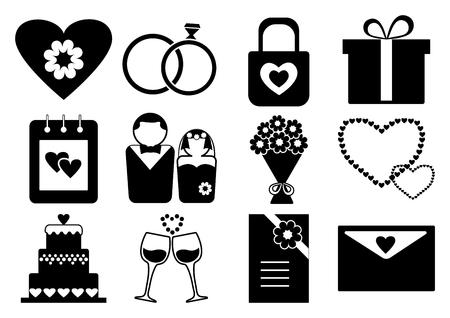 Black and white wedding set, vector illustration