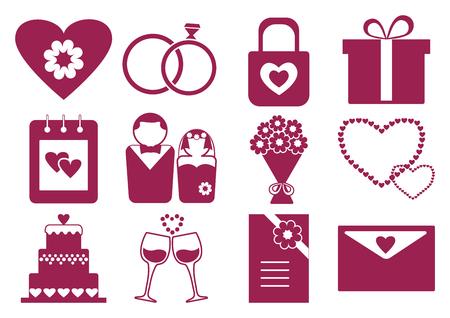 Pink and white wedding set, vector illustration Illustration