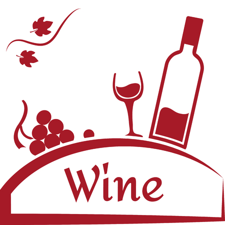 Grapes, glass and bottle of wine. Wine logo design. Red brand for wine company or winery. Vector illustration.