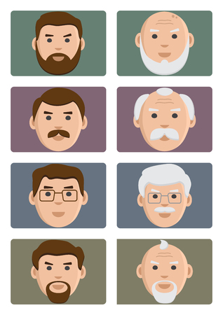 Face people ages icons, male from young to old. Flat set on colored background, avatar, vector illustration