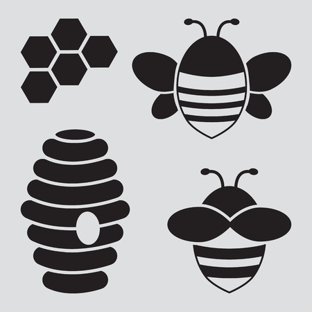 Honey set. Bees, honeycombs, beehive. Black silhouettes. Vector illustration