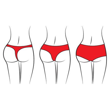 Women waist. Silhouette of female figure, back view, butt. Various women red pantiest. Vector illustration
