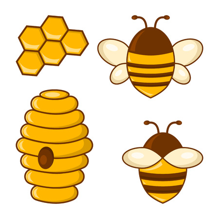 Colored honey set. Bees, honeycombs, beehive. Vector illustration