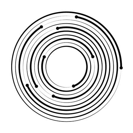 Élément géométrique de cercle concentrique isolé sur fond blanc. Illustration vectorielle