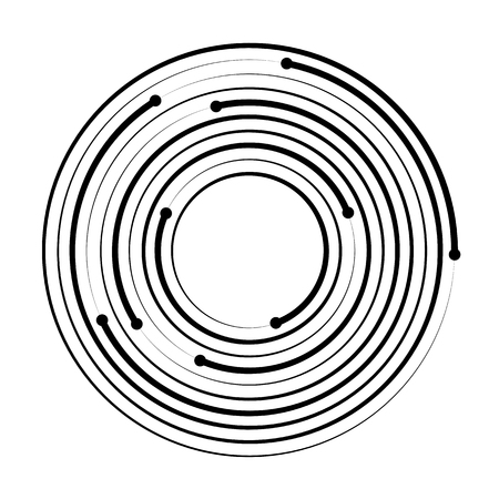 Concentric circle geometric element isolated on white background. Vector illustration