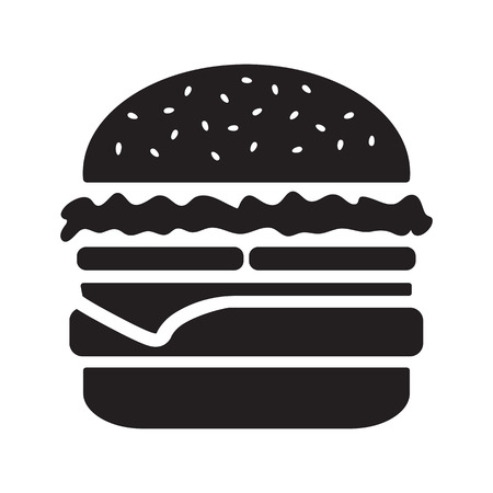 Cheeseburger icon, black silhouette isolated on white background. Vector illustration