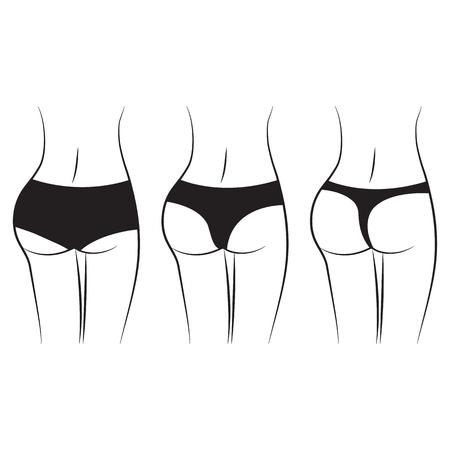 Women waist. Silhouette of female figure, back view, butt. Various women black pantiest. Vector illustration
