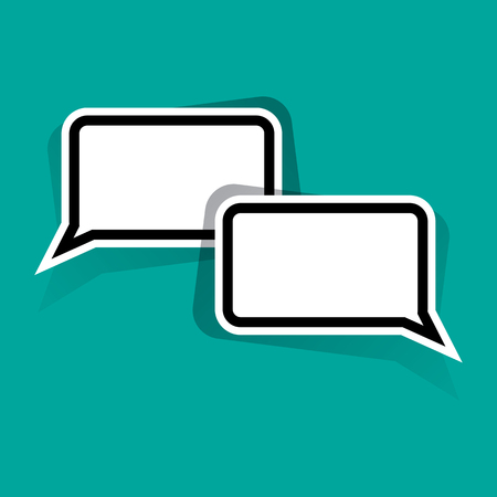 Black and white speech bubbles for your text on turquoise background. Vector illustration Illustration