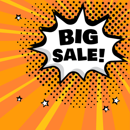 White comic bubble with BIG SALE word on orange background. Comic sound effects in pop art style. Vector illustration.