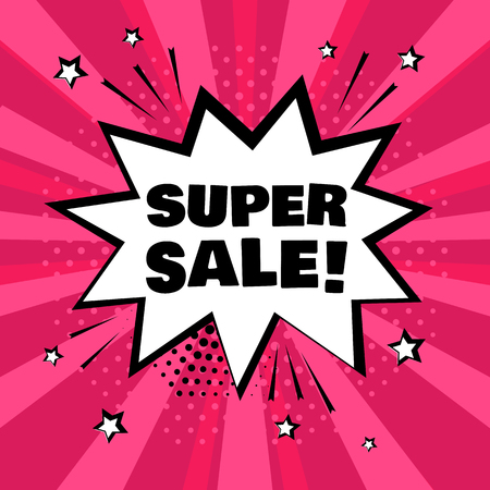 White comic bubble with SUPER SALE word on pink background. Comic sound effects in pop art style. Vector illustration.