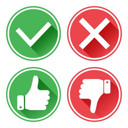 Establecer iconos rojos y verdes. Pulgar arriba y abajo. Me gusta y no me gusta. Si y no. Ilustración vectorial