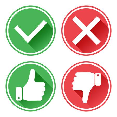 Set red and green icons. Thumb up and down. I like and dislike. Yes and no. Vector illustration. Foto de archivo - 122657347