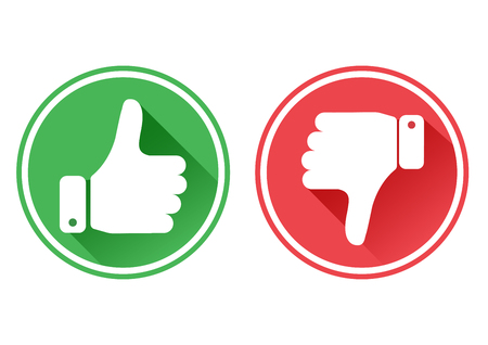 Thumb up and down red and green icons. I like and dislike. Vector illustration.