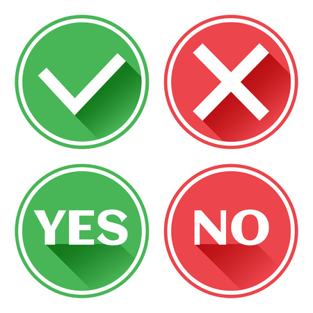 Set red and green icons buttons. Confirmation and rejection. Yes and no. Vector illustration.