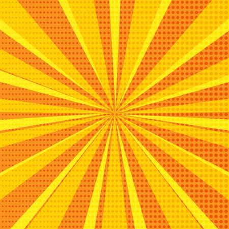 Fondo abstracto de arte pop con rayos de sol de color naranja brillante y puntos de semitono. Ilustración vectorial