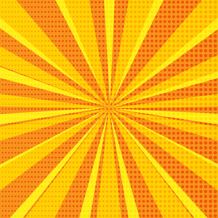 Pop art abstract background with bright orange sunbeams and halftone dots. Vector illustration