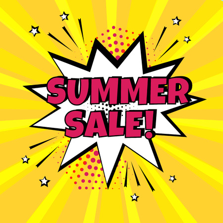 White comic bubble with SUMMER SALE word on yellow background. Comic sound effects in pop art style. Vector illustration.
