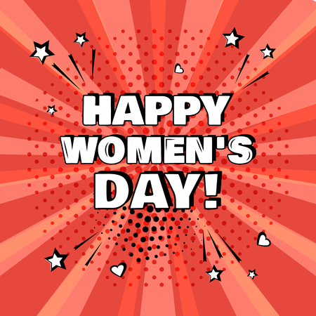 White inscription Happy Womens Day on red background. Comic sound effects in pop art style. Vector illustration. 向量圖像