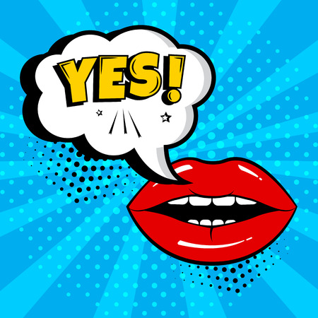 White comic bubble with YES word and red lips on blue background. Card in pop art style. Vector illustration
