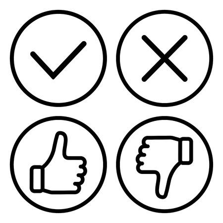 Set of buttons, outline design. Vector illustration