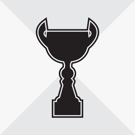 Cup icon. Black silhouette on gray background. Vector illustration