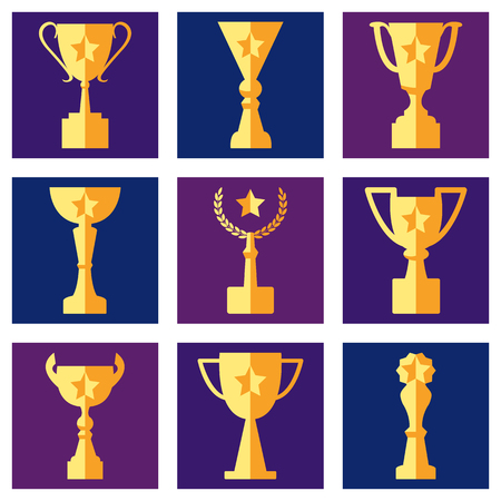 Awards and cups on a colored background, flat icons, vector set