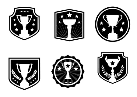 Black and white awards and cups, label, design logo, vector icons