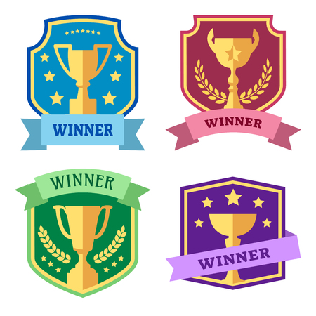 Award and cups, label, design logo, colorful vector icons
