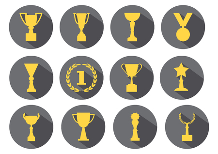 Yellow awards and cups on a gray background, vector set