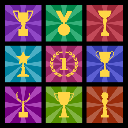 Award and cups, colorful set, vector illustration