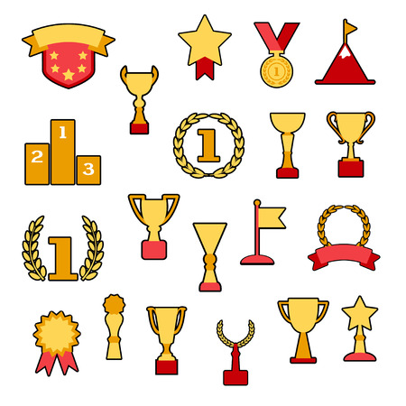 Award and cups, colored set, vector illustration Illustration