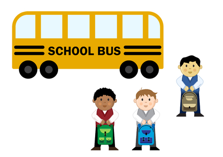 Pupils near the school bus, vector illustration
