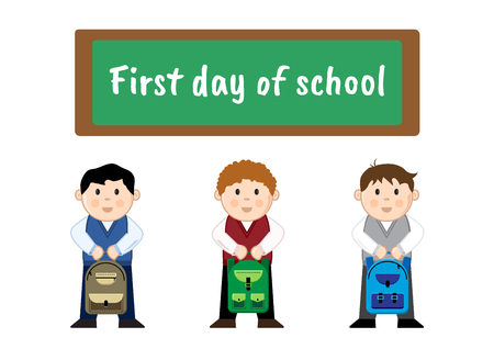Pupils with backpacks near the school board with the inscription back to school, vector illustration
