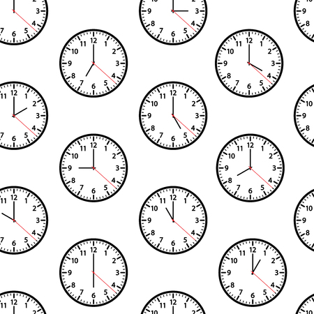 Seamless pattern with clocks showing different time isolated on white background. Vector illustration
