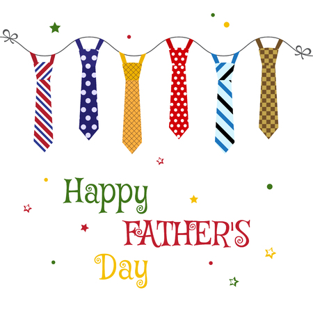 Greeting card for Fathers Day with colorful ties hanging. Vector illustration