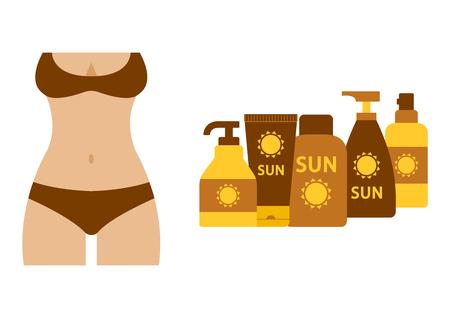 Sunburnt female silhouette in swimsuit, set of sunscreen and suntan cream or oil. Vector illustration