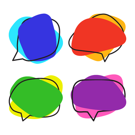 Set of colorful speech bubble shaped banners for your text. Vector illustration  イラスト・ベクター素材