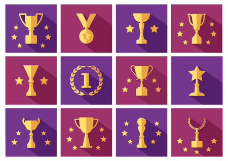 Set of golden awards and cups icons with stars. Vector illustration
