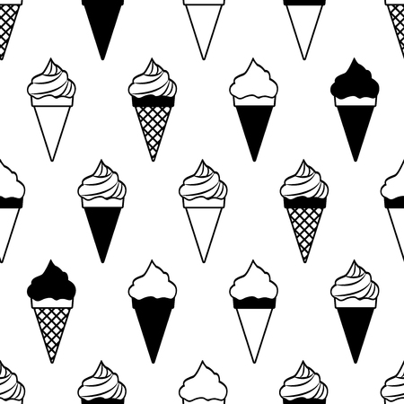 Seamless pattern with ice cream cones isolated on white background, black and white design. Vector illustration
