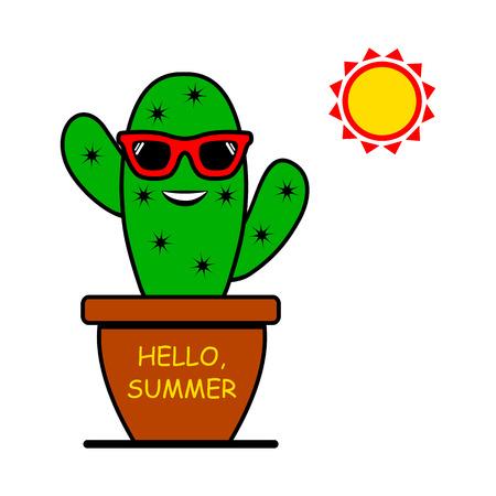 Hello, Summer. Cartoon emoticon cactus with sunglasses and sun. Vector illustration