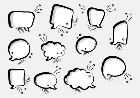 Set of empty comic speech bubbles different shapes with stars, hand drawn. Comic sound effects in pop art style. Vector illustration