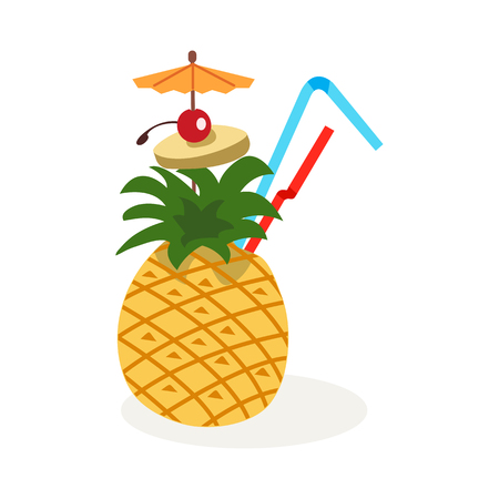 Summer tropic cocktail icon with pineapple. Vector illustration