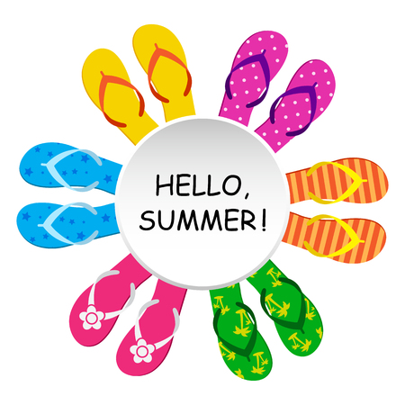 Hello, summer Round banner for your text with colorful flip flop. Vector illustration